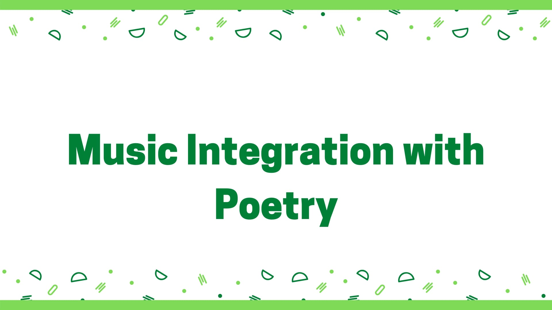 New Digital Ideas: Music Integration with Poetry